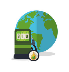 Gas station globe ecology vector