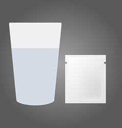 Glass of water and the powder in the packet vector image