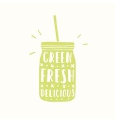 green fresh delicious jar silhouette vector image