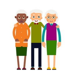 group older people three aged people black and vector image