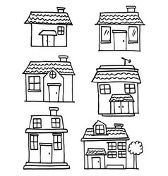 Hand draw of house set various vector