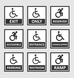 handicap signs wc and parking icons disabled vector image