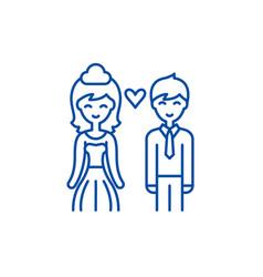 happy newlyweds line icon concept happy newlyweds vector image