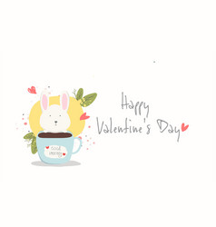 happy valentine daylovely rabbit with heart vector image
