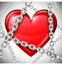 Heart and chains vector image