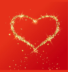 Heart flying particles gold vector