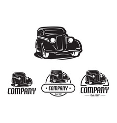 hot rod car logo template design element vintage vector image