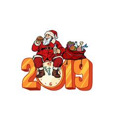 hungry santa claus eating new year 2019 vector image