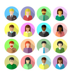Icon set diverse business people vector