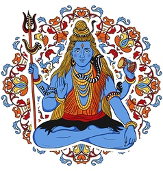 indian god shiva over ornate mandala background vector image