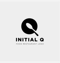 Initial q food equipment simple logo template vector