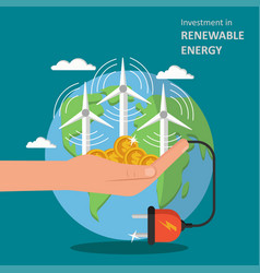 Investment in renewable energy concept flat vector