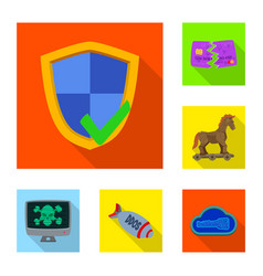 Isolated object of virus and secure logo set of vector