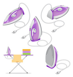 isometric set of steam iron isolated on white vector image