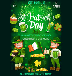leprechauns with beer shamrock patrick day party vector image