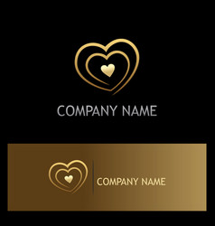 Love heart gold logo vector