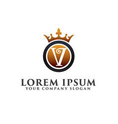 luxury letter v with crown logo design concept vector image