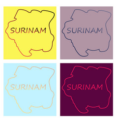 map outline and flag of suriname a horizontal vector image