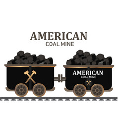 Miner cart coal wagon with pile of charcoalcoal vector