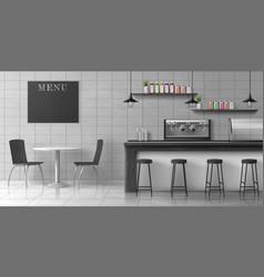 Modern coffee shop loft interior realistic vector