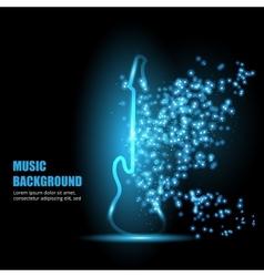 Neon light guitar vector