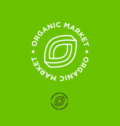 o letter green eco emblem organic market vector image