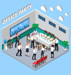 office party isometric composition vector image
