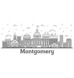 Outline montgomery alabama city skyline vector