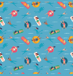 people swimming in sea seamless pattern background vector image