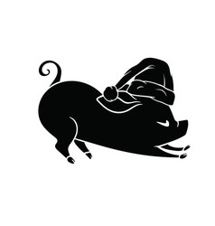 pig with a hat on his head stretching new year vector image