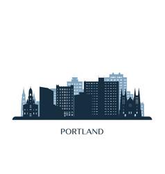 portland maine skyline monochrome silhouette vector image