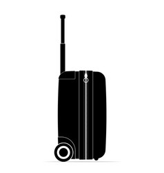profile black travel suitcase castors and handle vector image