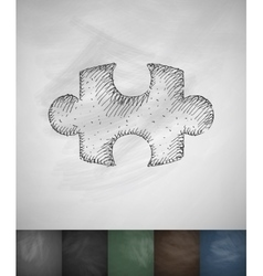 puzzle icon Hand drawn vector image