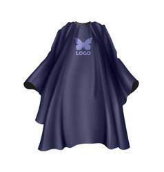 realistic dark blue hairdresser apron vector image