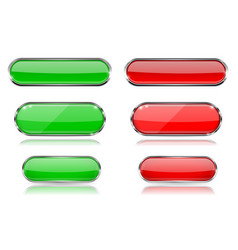 red and green glass 3d buttons with chrome frame vector image