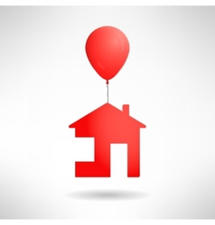 Red house flying on a balloon Real estate present vector