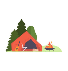 Red tent in woods around fire vector