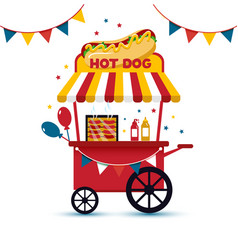 retro hot dog cart mobil fast food flat vector image