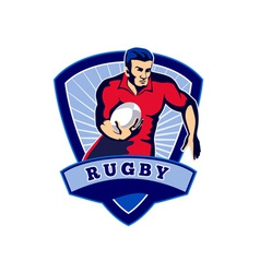 Rugby player running ball front shield vector