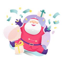 Santa claus throws money out vector