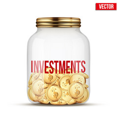 saving money coin in jar with investments label vector image