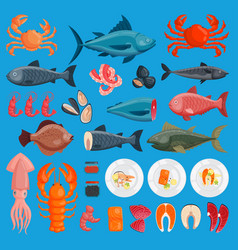 sea food cuisine fresh fish and shrimp vector image