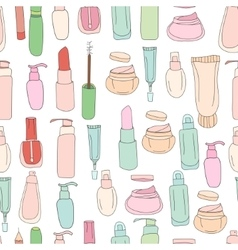 Seamless pattern with cosmetics creams lotions vector image