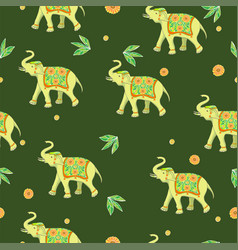 seamless pattern with elephants and flowers vector image