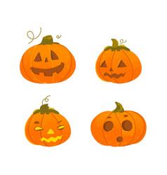 Set cartoon halloween pumpkin jack-o-lanterns vector