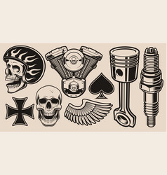 set for biker theme vector image