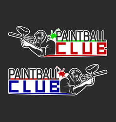 Set of monochrome paintball logos emblems and vector