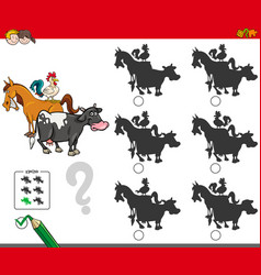 Shadow activity game with farm animals characters vector