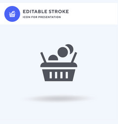 shopping cart icon filled flat sign solid vector image
