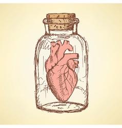Sketch Valentine in vintage style vector image